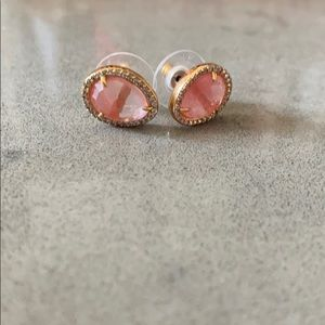 Jewelry - Pink stone.gold and pave diamond fashion earrings